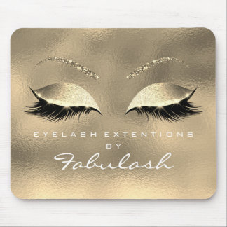 Glass Gold Glitter Branding Beauty Lashes White Mouse Pad