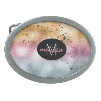 Glass Gradient and Splatter Monogram Pink ID444 Belt Buckle