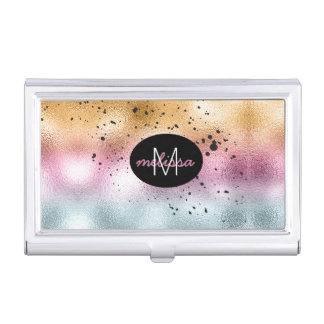 Glass Gradient and Splatter Monogram Pink ID444 Business Card Holder