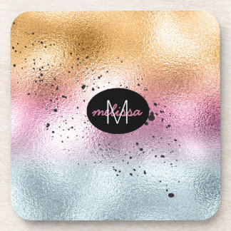 Glass Gradient and Splatter Monogram Pink ID444 Coaster