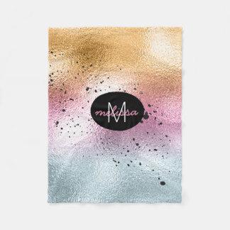 Glass Gradient and Splatter Monogram Pink ID444 Fleece Blanket