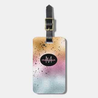 Glass Gradient and Splatter Monogram Pink ID444 Luggage Tag