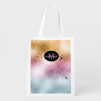 Glass Gradient and Splatter Monogram Pink ID444 Reusable Grocery Bag