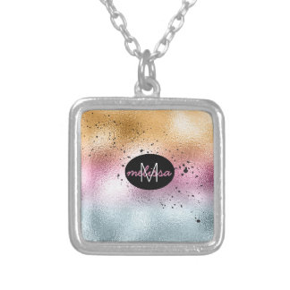 Glass Gradient and Splatter Monogram Pink ID444 Silver Plated Necklace