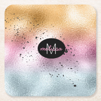 Glass Gradient and Splatter Monogram Pink ID444 Square Paper Coaster