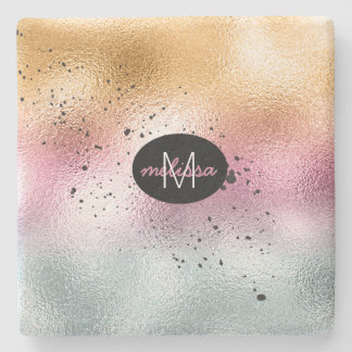 Glass Gradient and Splatter Monogram Pink ID444 Stone Coaster