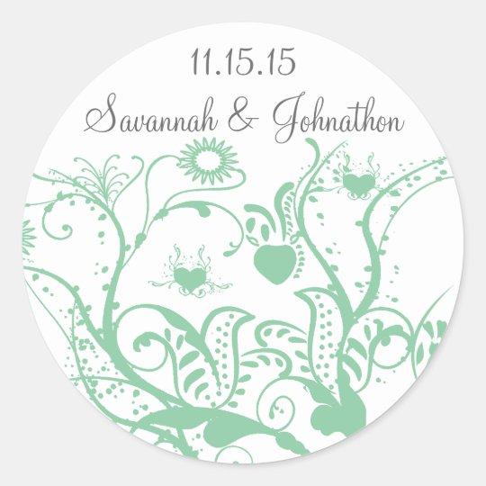 Glass Green Love Bird Swirls  Wedding Stickers