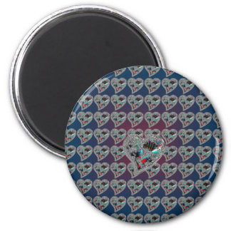 GLASS HEARTS & DRAGON TOE 2 INCH ROUND MAGNET