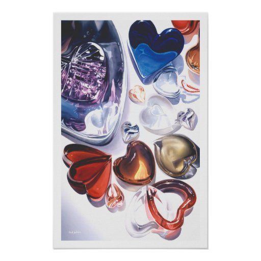Glass Hearts Love Watercolor Poster