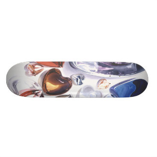 Glass Hearts Love Watercolor Skateboard