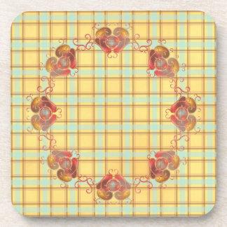 Glass Hearts Ornamental Drink Coasters