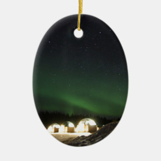 Glass Igloo under the Northern Lights Ceramic Oval Ornament
