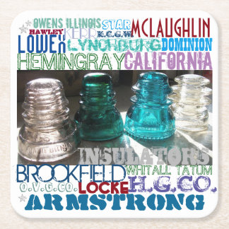 GLASS INSULATORS HISTORY of the RAILROAD Telegraph Square Paper Coaster