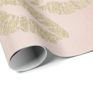 Glass Kiss Lips Makeup Blush Champagne Gold Pink Wrapping Paper