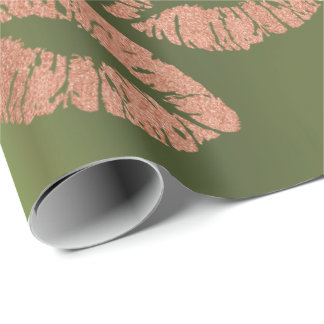 Glass Kiss Lips Makeup Blush Copper Gold Greenery Wrapping Paper