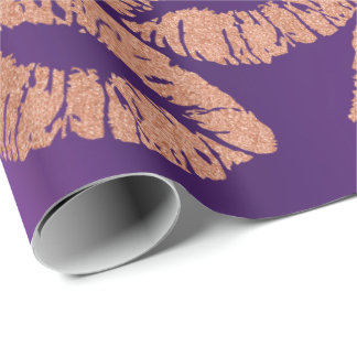 Glass Kiss Lips Makeup Blush Peach Gold Purple Wrapping Paper