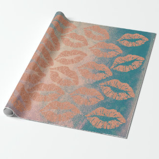 Glass Kiss Lips Makeup Blush Peach Gold Teal Gray Wrapping Paper