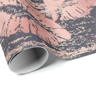 Glass Kiss Lips Makeup Blush Pink Rose Gold Marble Wrapping Paper