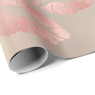Glass Kiss Lips Makeup Blush Pink Rose Gold Metal Wrapping Paper