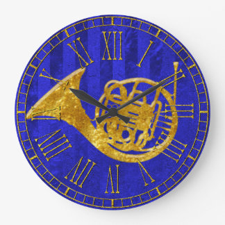 Glass Look Gold French Horn Large Clock