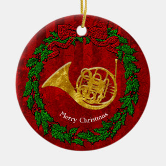 Glass Look Gold French Horn Personalize Ceramic Ornament