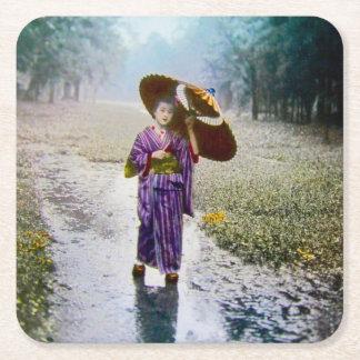 Glass Magic Lantern Slide A JAPANESE GIRL IN RAIN Square Paper Coaster