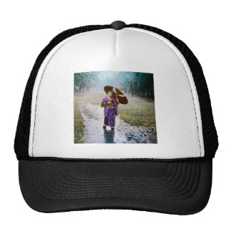 Glass Magic Lantern Slide A JAPANESE GIRL IN RAIN Trucker Hat