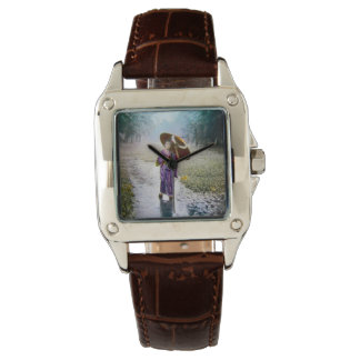 Glass Magic Lantern Slide A JAPANESE GIRL IN RAIN Wrist Watch