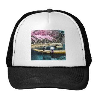 Glass Magic Lantern Slide PICNIC BOATING GEISHA Trucker Hat