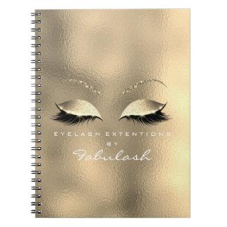 Glass Metal Gold Glitter Eyes Makeup Beauty White Notebook