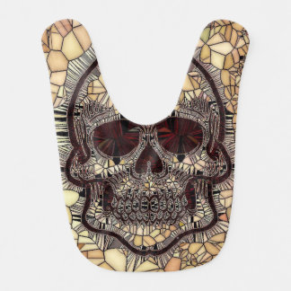 Glass Mosaic Skull,beige Bib
