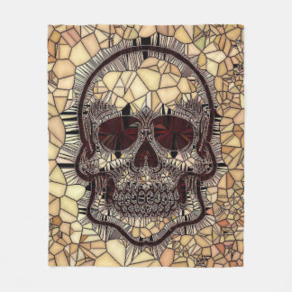Glass Mosaic Skull,beige Fleece Blanket