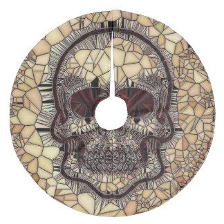 Glass Mosaic Skull,beige Fleece Tree Skirt