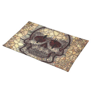 Glass Mosaic Skull,beige Placemat
