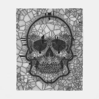 Glass Mosaic Skull, black white Fleece Blanket
