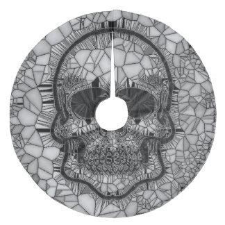 Glass Mosaic Skull, black white Fleece Tree Skirt