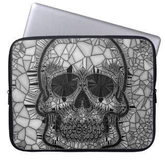 Glass Mosaic Skull, black white Laptop Sleeve