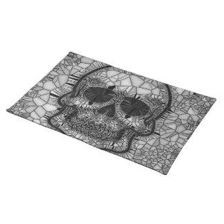 Glass Mosaic Skull, black white Placemat