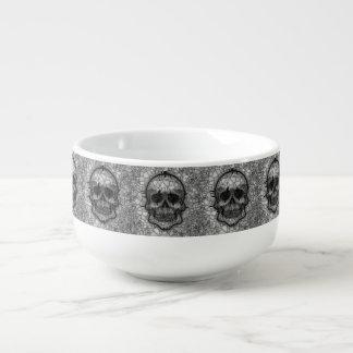 Glass Mosaic Skull, black white Soup Mug