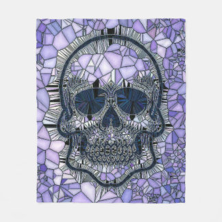 glass mosaic skull, blue fleece blanket