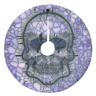 glass mosaic skull, blue fleece tree skirt
