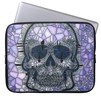 glass mosaic skull, blue laptop sleeve