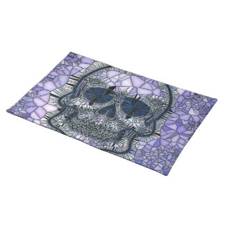 glass mosaic skull, blue placemat