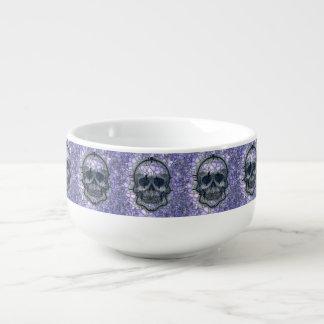 glass mosaic skull, blue soup mug