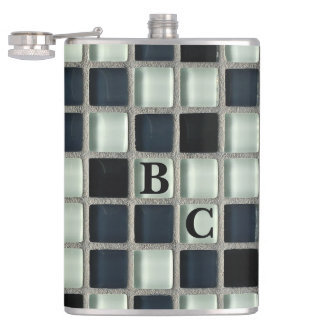 Glass Mosaic Tile Look Custom Initials Flasks
