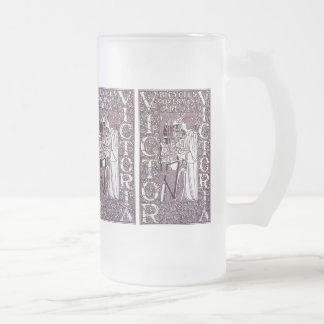 Glass Mug: Victor, Victoria Bicycles Frosted Glass Beer Mug