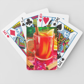 Glass mug with citrus mulled wine bicycle playing cards