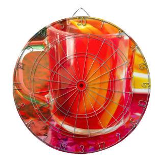 Glass mug with citrus mulled wine dartboard
