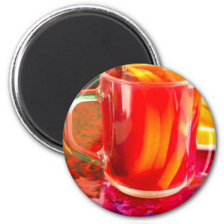 Glass mug with citrus mulled wine magnet