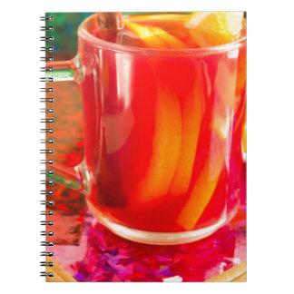 Glass mug with citrus mulled wine notebooks